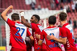 12-05-2018 NED: FC Utrecht - Heerenveen, Utrecht<br /> FC Utrecht win second match play off with 2-1 against Heerenveen and goes to the final play off / Rico Strieder #6 of FC Utrecht score the 1-0, Lukas Gortler #27 of FC Utrecht, Gyrano Kerk #7 of FC Utrecht, Mark van der Maarel #2 of FC Utrecht