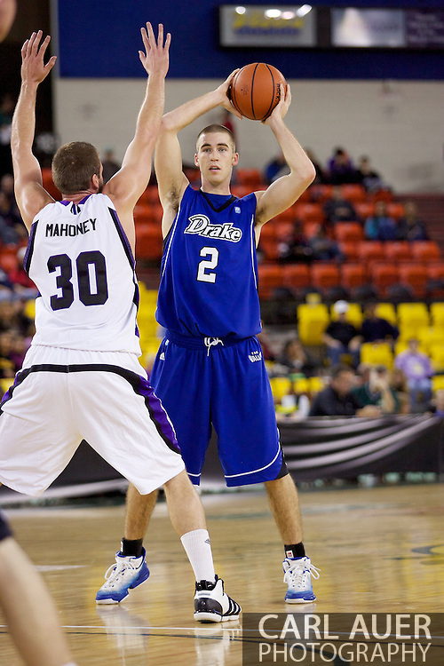 November 27th, 2010:  Anchorage, Alaska - Drake Bulldog forward Aaron Hawley (2) looks to pass in the Bulldog's 81-82 loss to Weber State in the third place game of the Great Alaska Shootout.