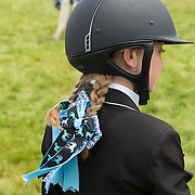 Blue pigtail ribbons at the horse show.<br />