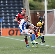 23rd September 2017, Rugby Park, Kilmarnock, Scotland; SPFL Premiership football, Kilmarnock versus Dundee; Dundee's Kevin Holt and Kilmarnock's Rory McKenzie battle for the ball