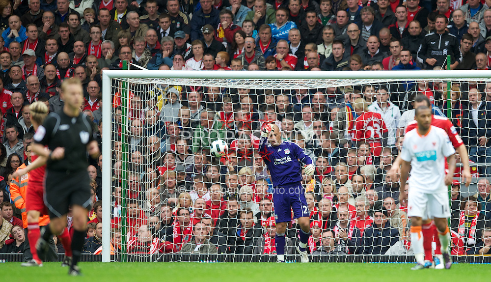 LIVERPOOL, ENGLAND - Sunday, October 3, 2010: Liverpool's goalkeeper Jose Reina looks dejected after conceding Blackpool's opening goal during the Premiership match at Anfield. (Photo by David Rawcliffe/Propaganda)