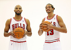 11.12.2011, The Berto Center, Deerfield, USA, NBA, Chicago Bulls Medien Tag, im Bild JOAKIM NOAH Z PRAWEJ I TAJ GIBSON Z LEWEJ CHICAGO BULLS // during Chicago Bulls Media Day at the Berto Center, Deerfield, United Staates on 2011/12/11, POLAND OUT!!!. EXPA Pictures © 2011, PhotoCredit: EXPA/ Newspix/ Kamil Krzaczynski..***** ATTENTION - for AUT, SLO, CRO, SRB, SUI and SWE only *****