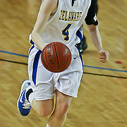 Delaware Junior Guard (#4) Meghan McLean drives down the court in the second half of the Towson delaware game Wednesday at the The Bob Carpenter Center In Newark Delaware...Special to The News Journal/SAQUAN STIMPSON