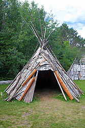 Teepee shelter with birch bark paneling, Grand Portage National Monument, Grand Portage, Minnesota, United States of America