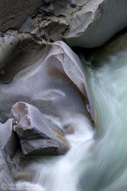 Smooth rocks in the Coquihalla River at Coquihalla Canyon Provincial Park (Othello Tunnels) in Hope, British Columbia, Canada.