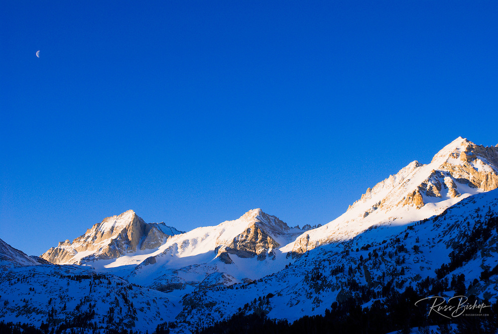 Morning light on Bear Creek Spire and Mount Abbott, Inyo National Forest, Sierra Nevada Mountains, California