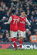 GOAL 1-1 Arsenal forward Gabriel Martinelli (35) scores and celebrates with Arsenal midfielder Bukayo Saka (77) during the Premier League match between Chelsea and Arsenal at Stamford Bridge, London, England on 21 January 2020.
