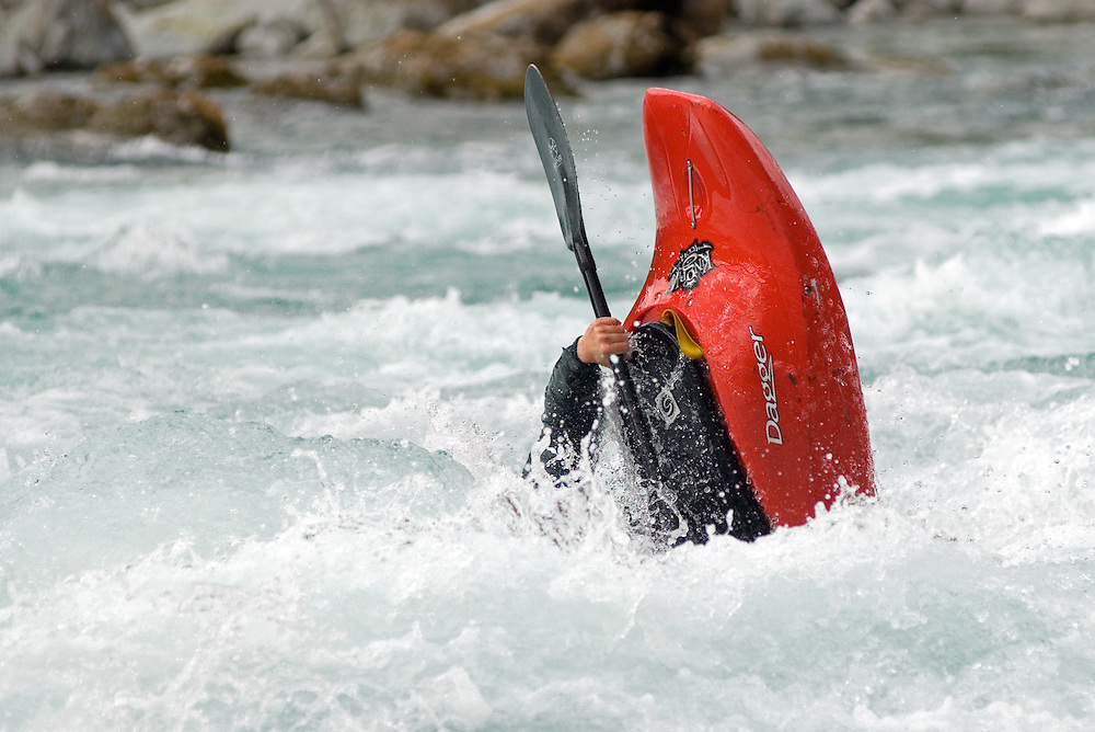 Kayaker playing in a rapid on Chile's Futaleufu River.