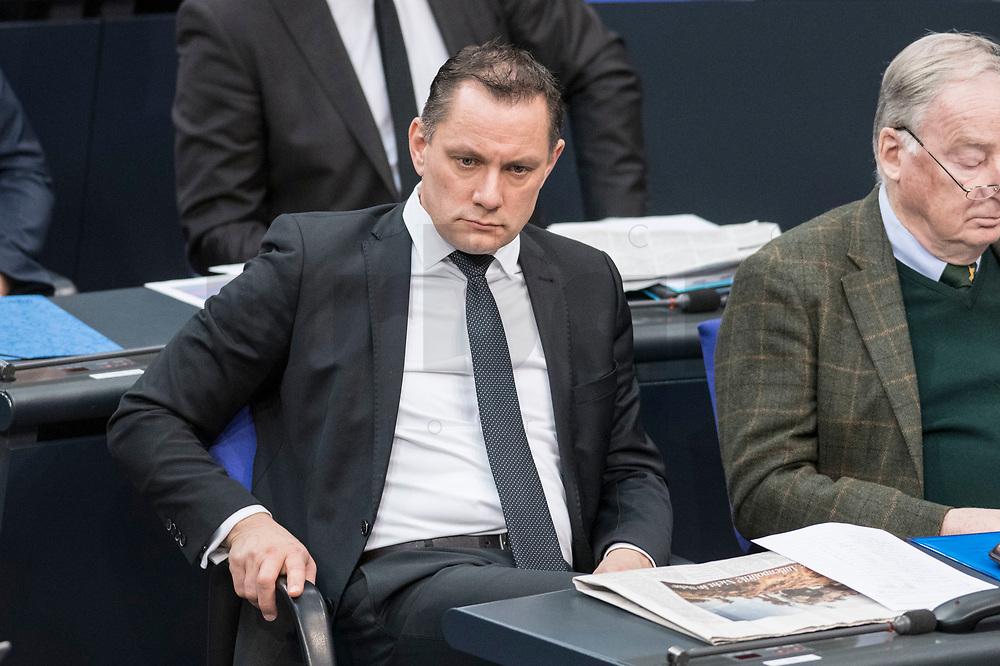 14 FEB 2019, BERLIN/GERMANY:<br /> Tino Chrupalla, MdB, AfDd, Bundestagsdebatte, Plenum, Deutscher Bundestag<br /> IMAGE: 20190214-01-024<br /> KEYWORDS: Bundestag, Debatte