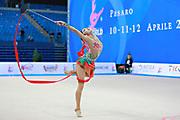 Liu Jiahui during qualifying at ribbon in Pesaro World Cup at Adriatic Arena on 11 April 2015. Jiahu is a Chinese individual rhythmic gymnast  born March 31, 1996 in Handan, China.