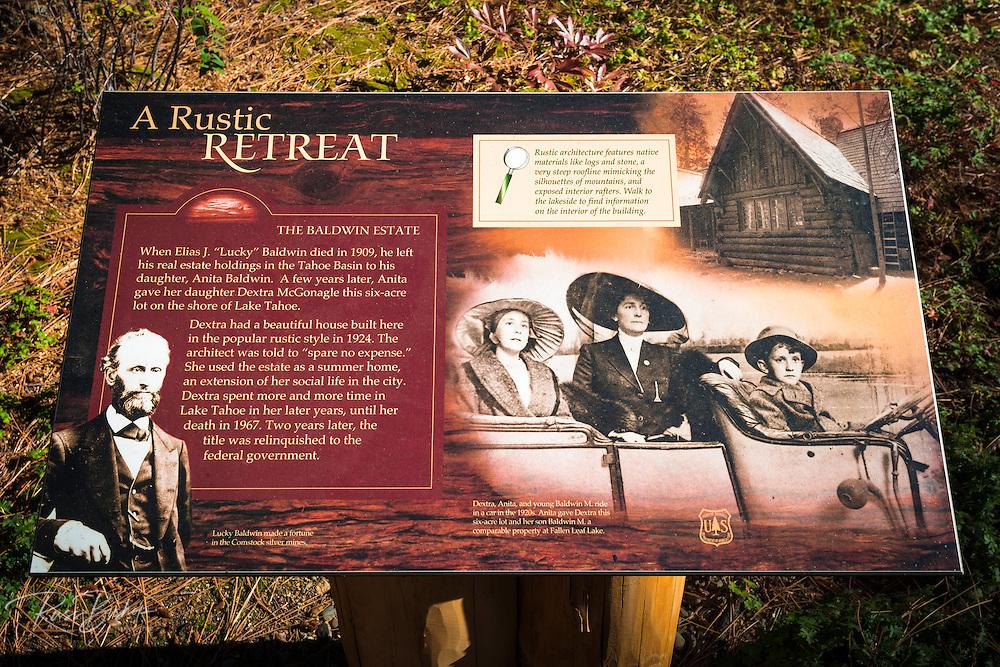 Interpretive sign at Tallac Historic Site, Lake Tahoe, California USA