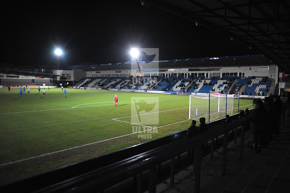 TELFORD COPYRIGHT MIKE SHERIDAN A possible record Bucks Head low crowd during the FA Trophy Round 1 fixture between AFC Telford United and Leamington at the New Bucks head Stadium on Tuesday, December 17, 2019.<br /> <br /> Picture credit: Mike Sheridan/Ultrapress<br /> <br /> MS201920-034
