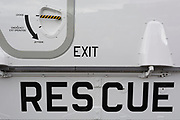 Detail of a Royal Norwegian Air Force AW101 Search and Rescue helicopter at the Farnborough Airshow, on 18th July 2018, in Farnborough, England. The helicopter operates as NAWSARH (Norwegian All-Weather Search and Rescue Helicopter).