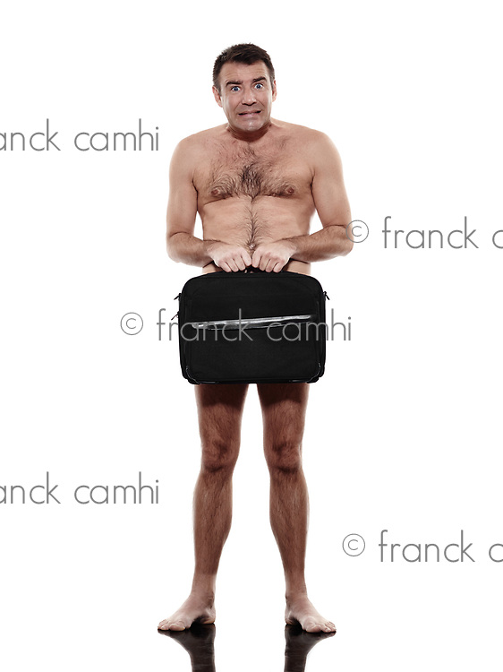 one caucasian business business man naked with briefcase in silhouette on white background