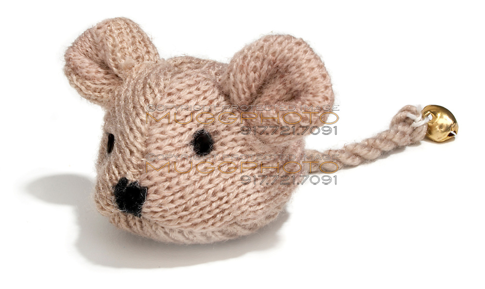 pink knit cat toy mouse