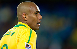 Maicon of Brazil during the 2010 FIFA World Cup South Africa Group G match between Brazil and North Korea at Ellis Park Stadium on June 15, 2010 in Johannesburg, South Africa. Brazil defeated Korea 2-1. (Photo by Vid Ponikvar / Sportida)