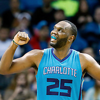 01 November 2015: Charlotte Hornets center Al Jefferson (25) reacts during the Atlanta Hawks 94-92 victory over the Charlotte Hornets, at the Time Warner Cable Arena, in Charlotte, North Carolina, USA.