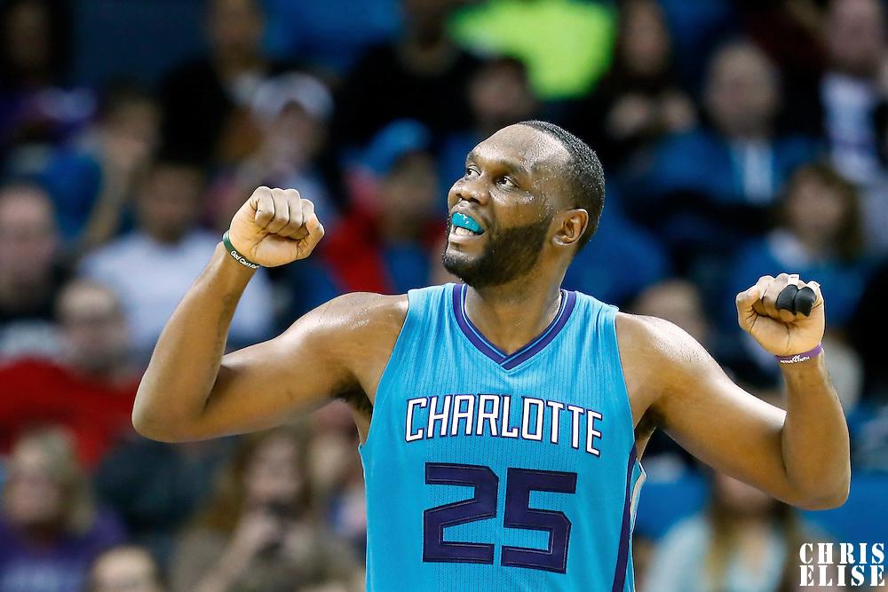 01 November 2015: Charlotte Hornets center Al Jefferson (25) reacts during the Atlanta Hawks 94-92 victory over the Charlotte Hornets, at the Time Warner Cable Arena, in Charlotte, North Carolina, USA.