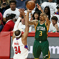 25 April 2017: Utah Jazz guard George Hill (3) takes a jump shot over LA Clippers forward Paul Pierce (34) during the Utah Jazz 96-92 victory over the Los Angeles Clippers, during game 5 of the first round of the Western Conference playoffs, at the Staples Center, Los Angeles, California, USA.