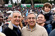 Rome, Italy. 30 January 2016<br /> Pictured: Gaetano Quagliariello current leader of Identity and Action party,Maurizio Gasparri president of the parliamentary group of the People of Freedom to the Senate, vice president of the Senate.<br /> Thousands of demonstrators take part in the Family Day rally at the Circo Massimo in central Rome  in support of traditional family and to protest against a bill to recognize civil unions, including same-sex ones currently under examination at the Italian Parliament.