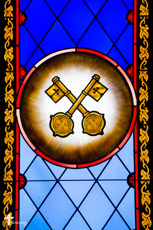 Stained glass with The Office of the Keys at St. Thomas Lutheran Church, Baltimore, on Saturday, March 24, 2018. LCMS Communications/Erik M. Lunsford