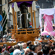 KAWASAKI, JAPAN - APRIL 2 : People carry a large phallus shaped portable shrine during the annual Kanamara Festival on April 2, 2017 in Kawasaki, Japan. The fertility festival, originated from prostitutes who wished to pray for good business and protection from sexually transmitted diseases, nowadays, celebrates for fertility, relationships and safe sex practices, including AIDS prevention. Attracted with Tens of thousands festival goers including tourist, people can buy penis shape candies, key chains, trinkets, pens, chocolates and even toy glasses with a plastic penis nose. (Photo by Richard Atrero de Guzman/NUR Photo)