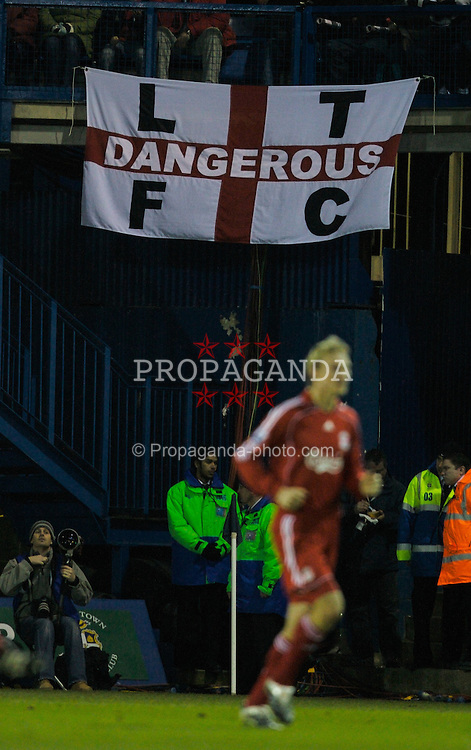 LUTON, ENGLAND - Sunday, January 6, 2008: Luton Town... dangerous. A supporter's banner during the FA Cup 3rd Round match at Keniworth Road. (Photo by David Rawcliffe/Propaganda)
