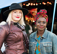 Designers Margaret O'Connor and Virtue Shine at Amadou and Mariam at the Big Top During the Galway  international arts Festival. photo:Andrew Downes