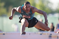 GUELPH, ON - JUNE 7: Canadian decathlete and Commonwealth Games medalist Pierce Lepage running in the 110m hurdles at the 2019 Speed River Inferno Track and Field Festival held at Alumni Stadium at the University of Guelph in Guelph, Ontario. (Photo by Sean Burges/Icon Sportswire)