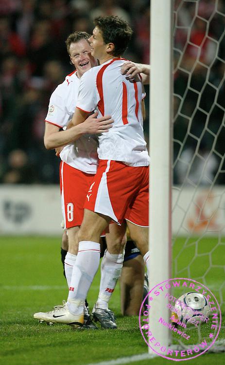 WARSAW 24/03/2007.POLAND _ AZERBAIJAN EURO 2008 GROUP G QUALIFIER .JACEK KRZYNOWEK AND RADOSLAW MATUSIAK CELEBRATE  GOAL FOR POLAND .FOT. PIOTR HAWALEJ / WROFOTO .