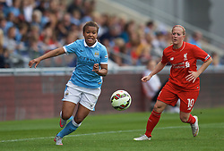 MANCHESTER, ENGLAND - Sunday, August 30, 2015: Manchester City's Nikita Parris and Liverpool's Line Smorsgard during the League Cup Group 2 match at the Academy Stadium. (Pic by Paul Currie/Propaganda)