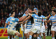 South Africa's Eben Etzebeth having a bit of handbags with Argentina's Tomas Lavanini during the Rugby World Cup Bronze Final match between South Africa and Argentina at the Queen Elizabeth II Olympic Park, London, United Kingdom on 30 October 2015. Photo by Matthew Redman.
