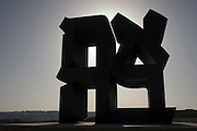 "Israel, Jerusalem, ""Ahava (Love)"". A statue by Robert Indiana (made in 1977). Israel Museum, Jerusalem. the statue is made from the 4 Hebrew letters that spell the word LOVE"