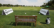 Practice driving area laid out for Jamie Donaldson (WAL), The Track at The Meydan Golf Club, Dubai, United Arab Emirates.  31/01/2016. Picture: Golffile | David Lloyd<br /> <br /> All photos usage must carry mandatory copyright credit (© Golffile | David Lloyd)