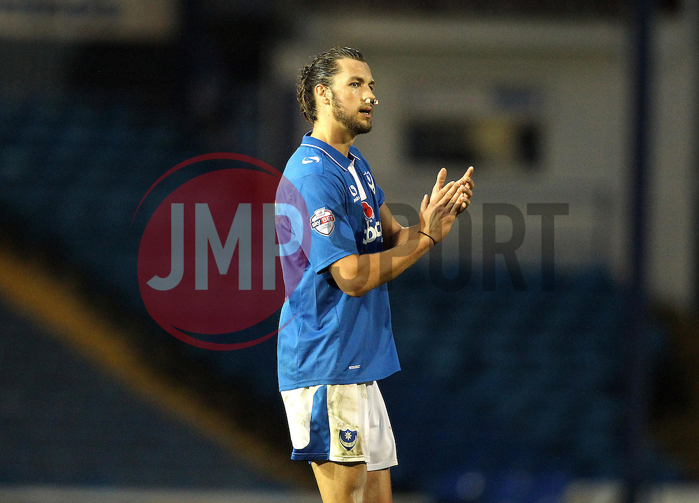 Christian Burgess of Portsmouth - Mandatory byline: Robbie Stephenson/JMP - 07966 386802 - 15/11/2015 - Rugby - Fratton Park - Portsmouth, England - Portsmouth v AFC Wimbledon - Sky Bet League Two