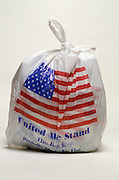 Full plastic grocery bag with American flag design