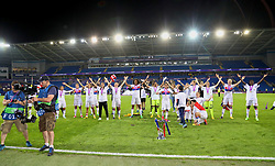 CARDIFF, WALES - Thursday, June 1, 2017: Olympique Lyonnais players celebrate with the trophy after winning the UEFA Champions League following a penalty-shoot out victory during the UEFA Women's Champions League Final between Olympique Lyonnais and Paris Saint-Germain FC at the Cardiff City Stadium. (Pic by David Rawcliffe/Propaganda)