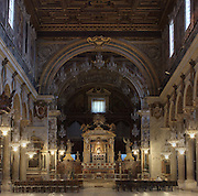 Nave and choir, Basilica di Santa Maria in Ara coeli (Basilica of St. Mary of the Altar of Heaven), 12th century, Rome, Italy. Picture by Manuel Cohen