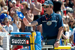 Slovenian referee Anton Pevc at A1 Beach Volleyball Grand Slam tournament of Swatch FIVB World Tour 2010, semifinal, on August 1, 2010 in Klagenfurt, Austria. (Photo by Matic Klansek Velej / Sportida)