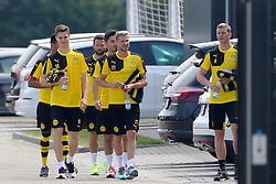 29.06.2015, Trainingsanlage, Dortmund, GER, 1. FBL, Borussia Dortmund, Trainingsauftakt, im Bild v.l. Jeremy Dudziak (Dortmund), Gonzalo Castro (Dortmund), Ilkay G??ndogan / Guendogan (Dortmund), Oliver Kirch (Dortmund) und Ilkay G??ndogan / Guendogan (Dortmund) gehen zum Bus auf dem Weg zum Laktattest // during a traning session of German 1st Bundeliga Club Borussia Dortmund at Trainingsanlage Borussia Dortmund in Dortmund, Germany on 2015/06/29. EXPA Pictures © 2015, PhotoCredit: EXPA/ Eibner-Pressefoto/ Hommes<br /> <br /> *****ATTENTION - OUT of GER*****