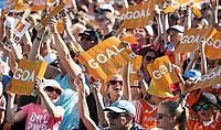 BREDA - vreugde op de volle tribune. Thierry Brinkman (Ned) heeft de stand op  1-1  gebracht tijdens Nederland- India (1-1) bij  de Hockey Champions Trophy. India plaatst zich voor de finale.    COPYRIGHT KOEN SUYK