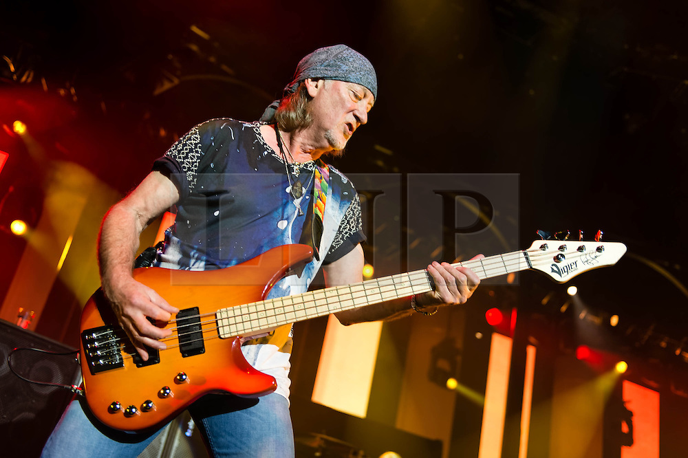© Licensed to London News Pictures. 16/10/2013. London, UK.   Deep Purple performing live at The Roundhouse. Deep Purple consist of members Ian Paice (drums, percussion),<br /> Roger Glover (bass),Ian Gillan (vocals),Steve Morse (guitar), Don Airey (organ).  In this pic - Roger Glover.  Photo credit : Richard Isaac/LNP