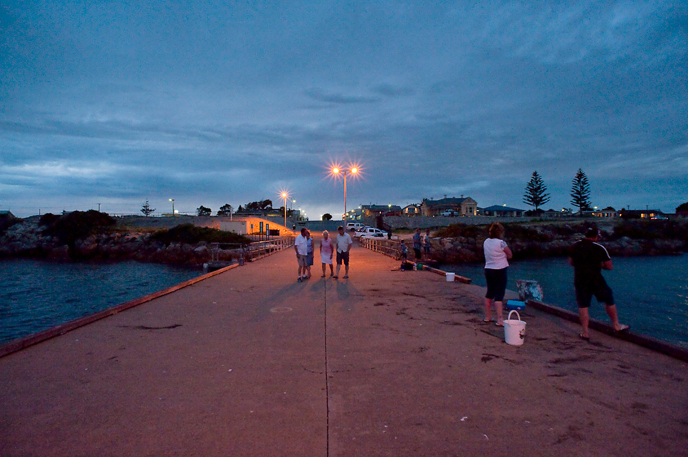The jetty at Edithburgh, South Australia, at nightfall. It was once one of the busiest in the country but now it is used purely for fishing and diving.