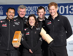 Prince Harry with his Great Britain team at the Walking With The Wounded South Pole Allied Challenge launch in London, Thursday, 14th November 2013. Picture by Stephen Lock / i-Images