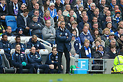 Brighton Manager, Chris Hughton during the Sky Bet Championship match between Brighton and Hove Albion and Derby County at the American Express Community Stadium, Brighton and Hove, England on 2 May 2016. Photo by Phil Duncan.