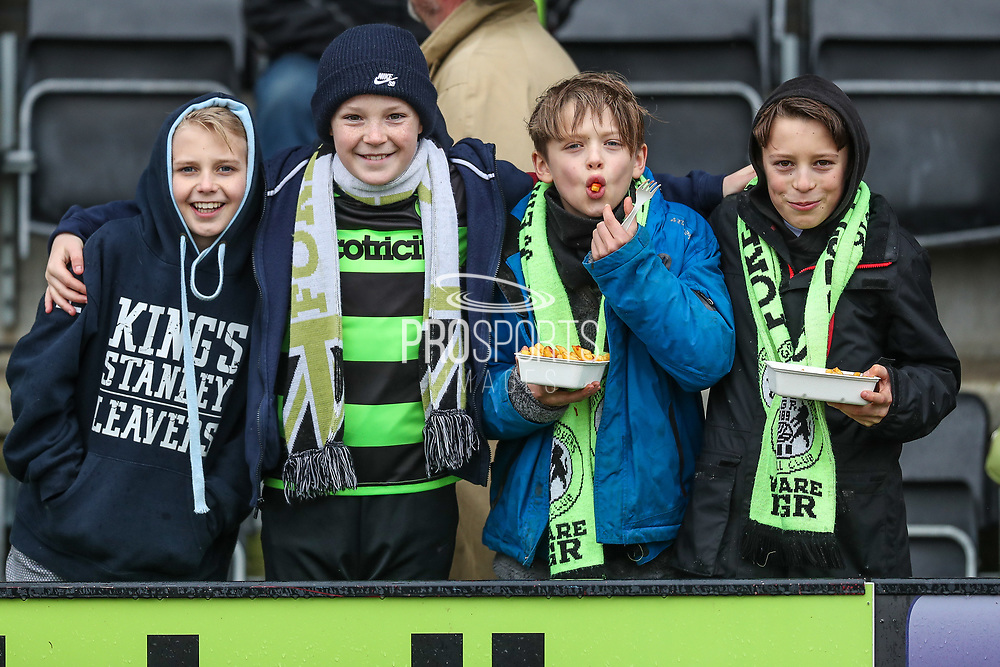 Young FGR supporters during the EFL Sky Bet League 2 match between Forest Green Rovers and Coventry City at the New Lawn, Forest Green, United Kingdom on 3 February 2018. Picture by Shane Healey.