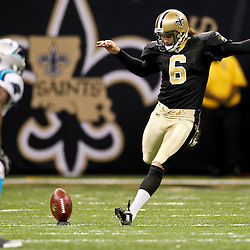 January 1, 2012; New Orleans, LA, USA; New Orleans Saints punter Thomas Morstead (6) kicks off during the second half of a game against the Carolina Panthers at the Mercedes-Benz Superdome. The Saints defeated the Panthers 45-17. Mandatory Credit: Derick E. Hingle-US PRESSWIRE