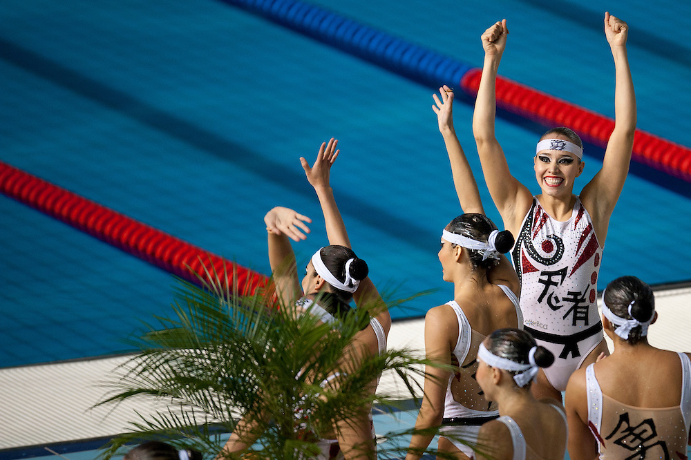 Oct. 21, 2011 - Guadalajara, Mexico - The Mexico synchronized swimming team after they preform in the finals at the Scotiabank Aquatics Center on day seven of the XVI Pan American Games. Canada won the gold medal, USA won the silver, and Brazil won the bronze medal. .©Benjamin B Morris