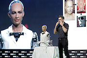 BEIJING, CHINA - APRIL 29: (CHINA OUT) <br /> <br /> Robot Sophia, an ultra-realistic female humanoid robot, is released during the 2016 Global Mobile Internet Conference on April 29, 2016 in Beijing, China. Robot Sophia is a female humanoid developed by Hanson Robotics, who is capable of seamless interaction with humans using a speech synthesis system, cameras in her eyes, and very realistic motorised facial expressions. Sofias able to comprehend, learn and interact with her environment and is probably the most advanced humanoid robot created to date, and most definitely the creepiest...who will, we have no doubt, help destroy us all in the end. <br /> ©Exclusivepix Media