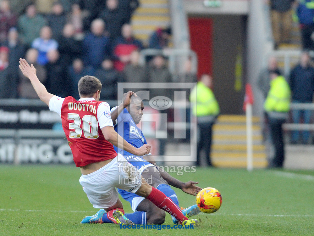 Scott Wooton of Rotherham United tackles Michail Antonio of Nottingham Forest during the Sky Bet Championship match at the New York Stadium, Rotherham<br /> Picture by Graham Crowther/Focus Images Ltd +44 7763 140036<br /> 13/12/2014
